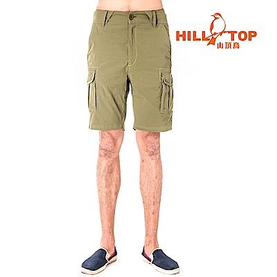 【hilltop山頂鳥】男款吸濕排汗抗UV彈性短褲S09M70-焦綠