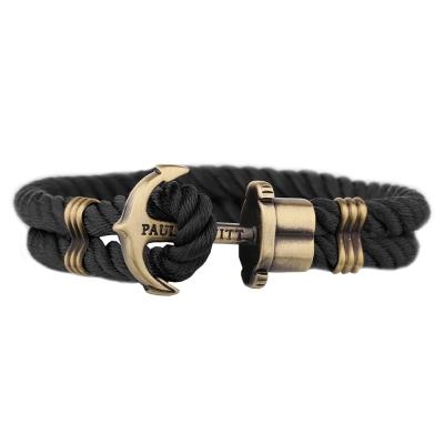 PAUL HEWITT 德國出品 PHREP 黑色尼龍繩編織 古銅船錨 單圈手環