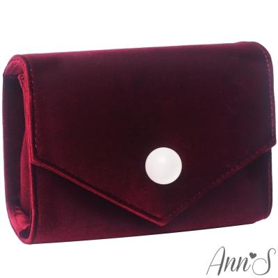 Ann'S時髦貴氣天鵝絨圓球信封包-酒紅