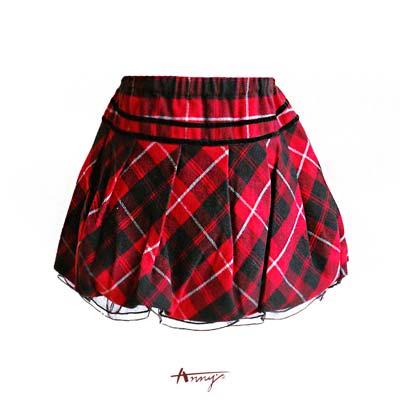 Anny貴族聖誕紅格絨條網紗擺短裙*1258紅