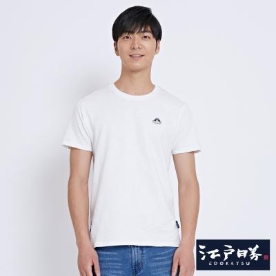 EDWIN EDOKATSU江戶勝簡潔徽章短袖T恤-男-米白