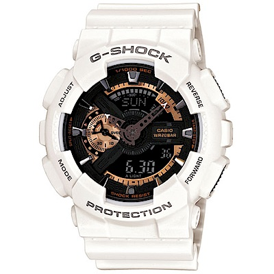 CASIO卡西歐G-SHOCK復古重機裝置運動腕錶(GA-110RG-7A)-白