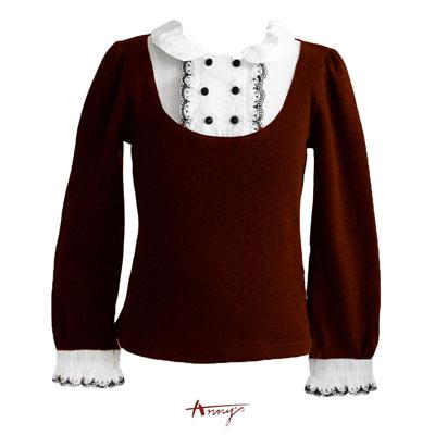 Anny可愛蕾絲雙排釦長袖上衣*0296咖