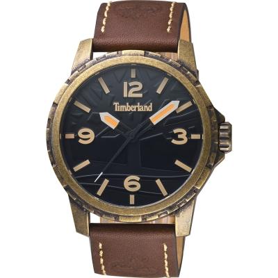 Timberland天柏嵐 沙漠之丘手錶-黑x古銅金x咖啡/46mm