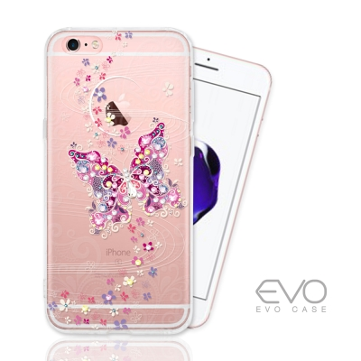 EVO CASE IPhone 6S Plus奧地利水晶彩繪防摔手機鑽殼-粉花蝴...