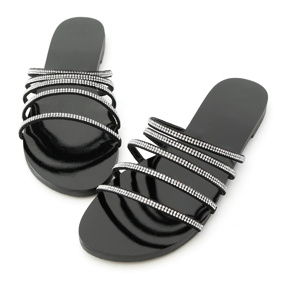 D+AF 光感魅力.五條水鑽細帶平底涼拖鞋*黑
