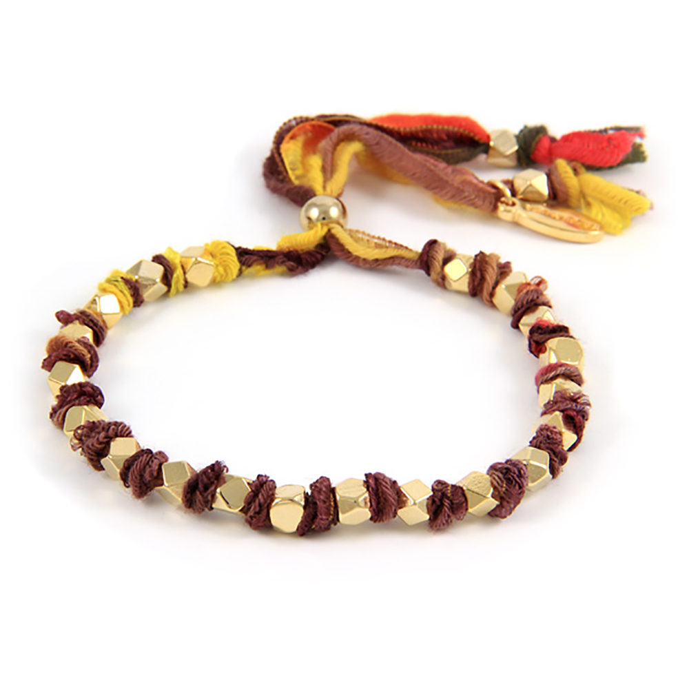 Ettika 美國品牌 金塊古董手工絲緞帶幸運大地色手環