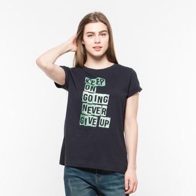 Hang Ten - 女裝 - 流行英文標語錐版T-Shirt- 藍