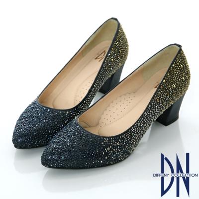 DN 名媛派對 璀璨迷人水鑽尖頭跟鞋-藍