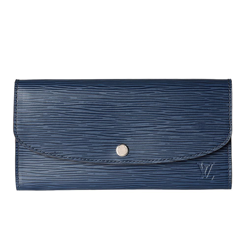 LV M60854 Emilie系列EPI水波紋拼色暗釦零錢袋長夾(藍X膚)