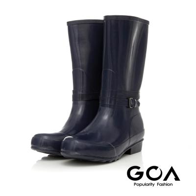GOA-飾釦造型亮面兩穿長筒雨靴-藍色