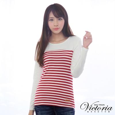 Victoria-休閒條紋拼接TEE-女-紅白條