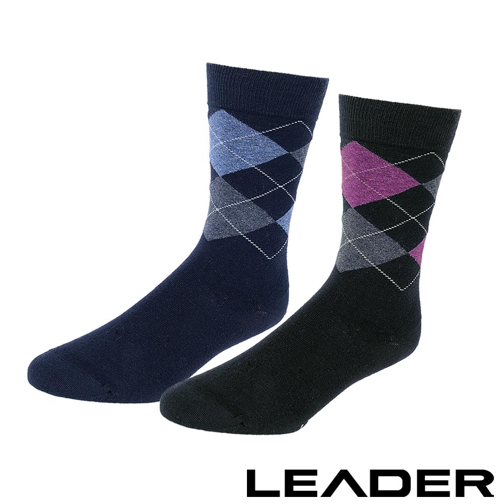 LEADER 除臭去味 紳士菱格中筒襪 超值5入