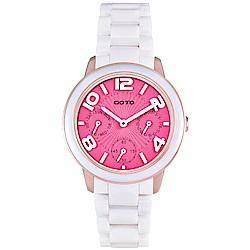 GOTO藍寶石鏡面三眼陶瓷手錶-桃紅X白/34mm