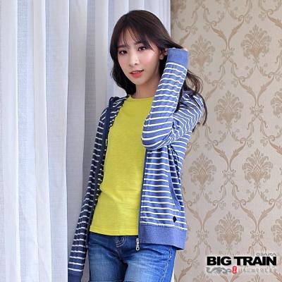 BIG TRAIN 女版條紋連帽外套-女-灰藍條