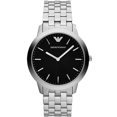 ARMANI Retro 時尚超薄石英腕錶-黑/銀/41.5mm