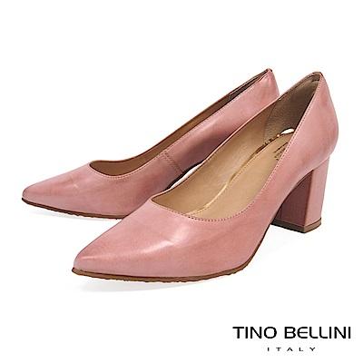 Tino Bellini 巴西進口氣質滿點牛皮高跟鞋_ 知性粉