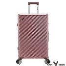 RAIN DEER 時尚斜紋20吋PC+ABS鋁框行李箱-玫瑰金