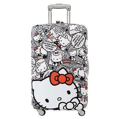 LOQI 行李箱套 - KITTY漫畫灰M號 (適用22-27吋行李箱)