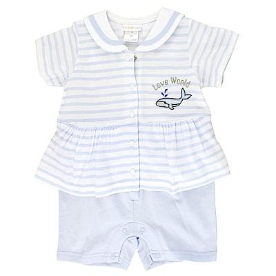 愛的世界 純棉海軍領鯨魚假2件短袖連身褲-藍