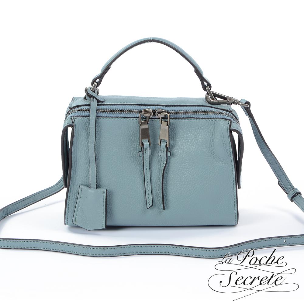 La Poche Secrete 側背包 真皮皮飾流蘇垂墜包(小)-亞麻藍