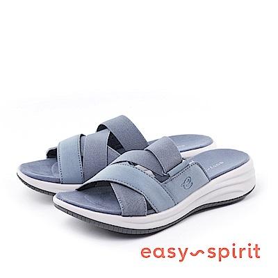 Easy Spirit--交錯鬆緊帶厚底涼拖鞋-冷灰藍