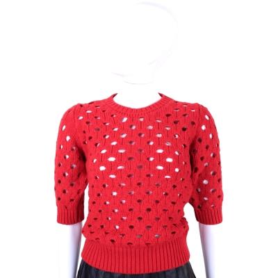 RED VALENTINO 紅色鏤空設計五分袖羊毛毛衣(8%CASHMERE)