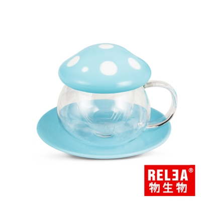 香港RELEA物生物 陶瓷玻璃蘑菇杯290ml三件組(天空藍)