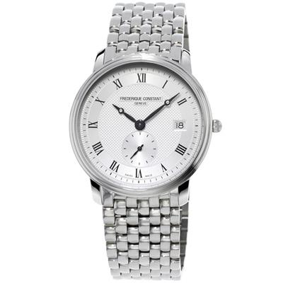 康斯登 CONSTANT SLIMLINE超薄系列紳士小秒針腕錶-銀/37mm