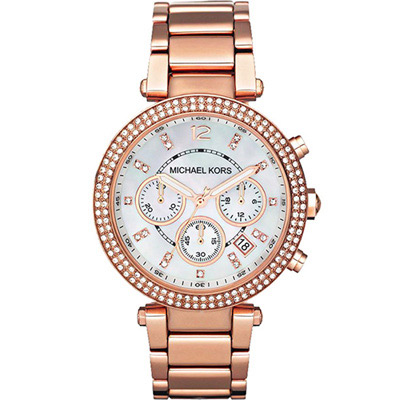 Michael Kors MK5491 美式璀璨晶鑽計時腕錶-玫瑰金色/39mm