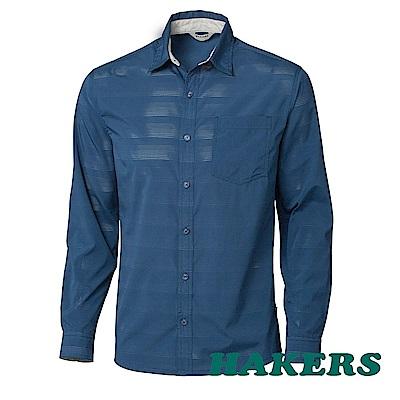 【HAKERS】男-抗UV快乾長袖襯衫-藍綠