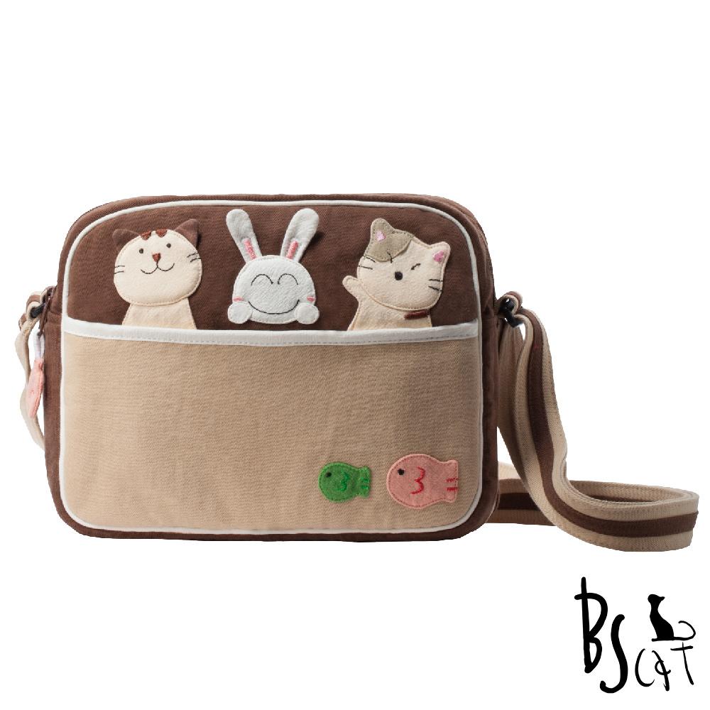 ABS貝斯貓 可愛貓咪拼布 肩背包 斜背包 (咖) 88-194 @ Y!購物