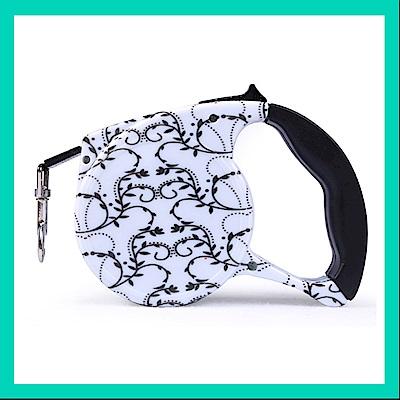 摩達客 輕巧印花紋系列寵物自動伸縮牽繩(黑白花紋 /5米長 /15KG以下適用)