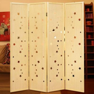 時尚屋 原木星星6尺屏風 寬182cm-免組
