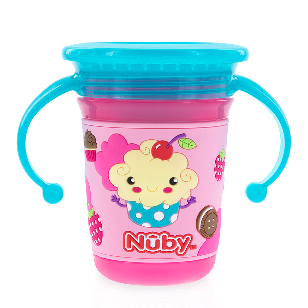 Nuby 3D 360度喝水杯240ml-粉冰淇淋(6M+)