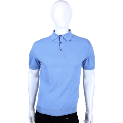 TRUSSARDI-JEANS 水藍色刺繡LOGO短袖POLO衫