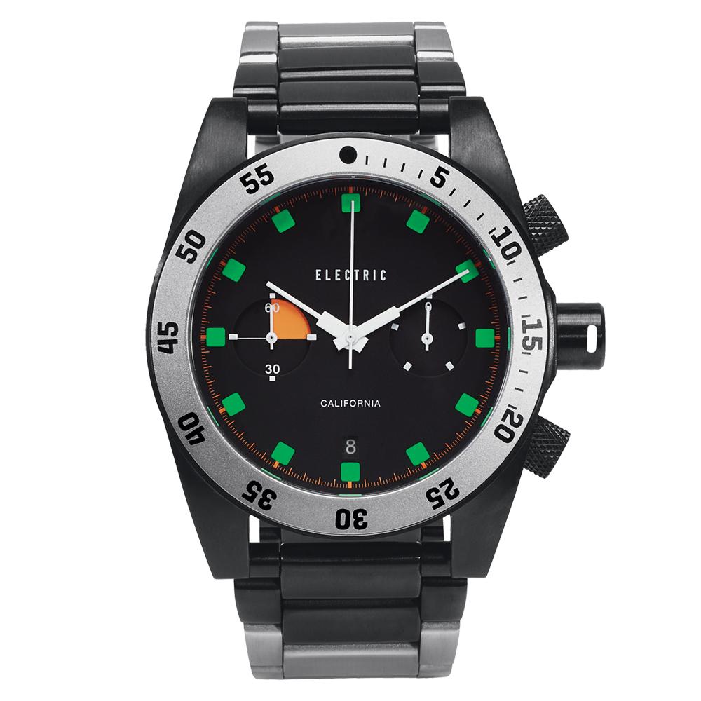 ELECTRIC DW02系列-時尚雙眼設計計時腕錶-黑/44.5mm