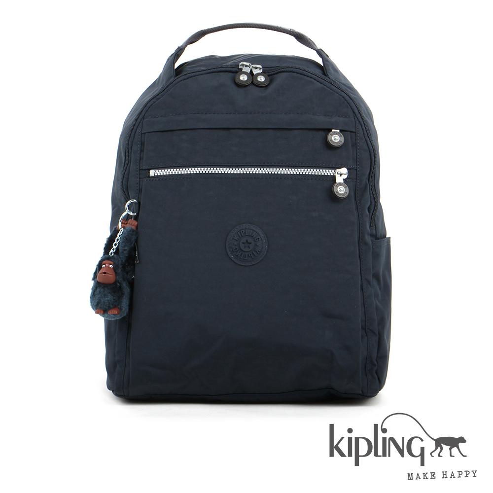 Kipling 後背包 藍黑素面