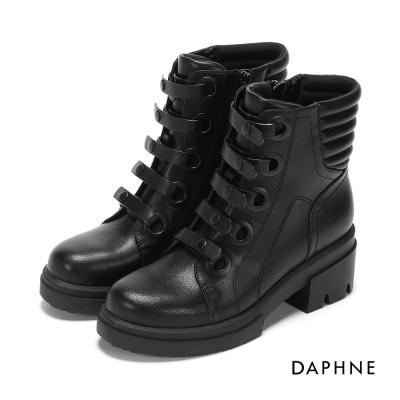 達芙妮DAPHNE 短靴-免綁式釦帶粗跟軍靴-黑