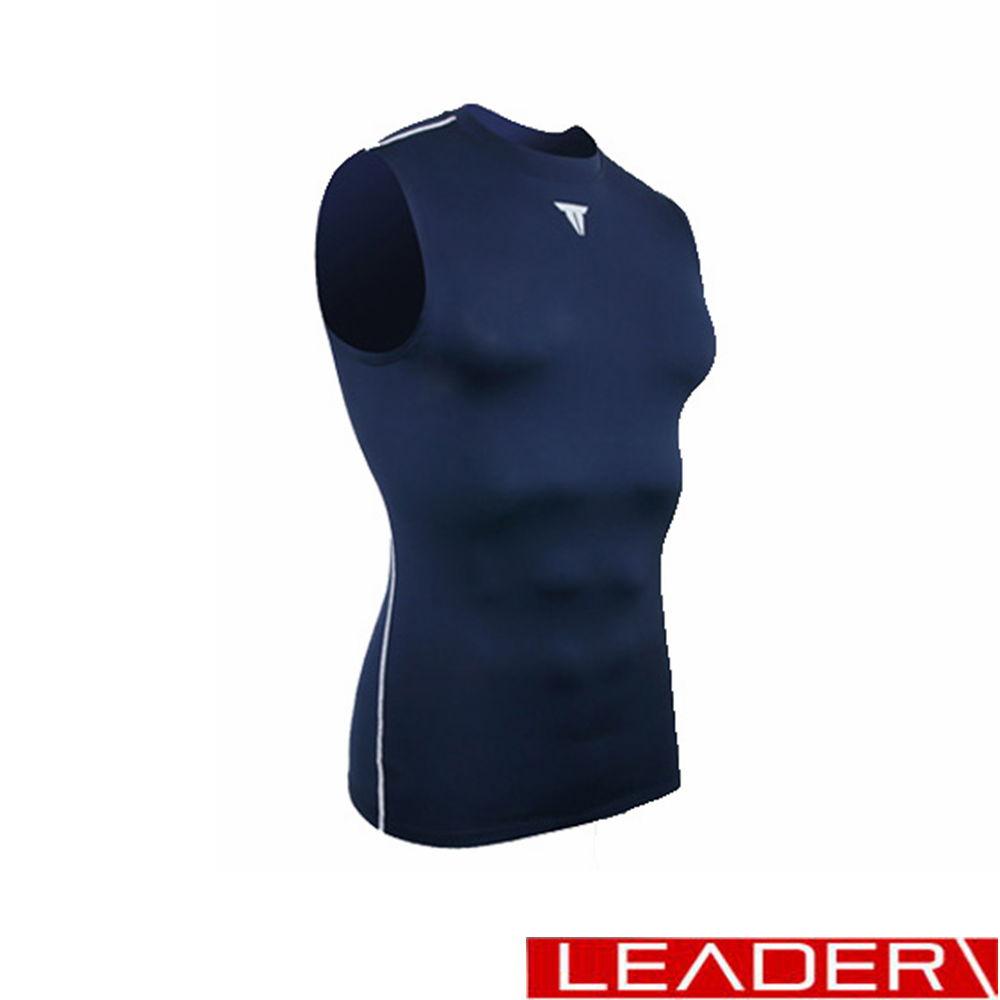 (快速到貨) LEADER Muscle Support專業運動背心 深藍