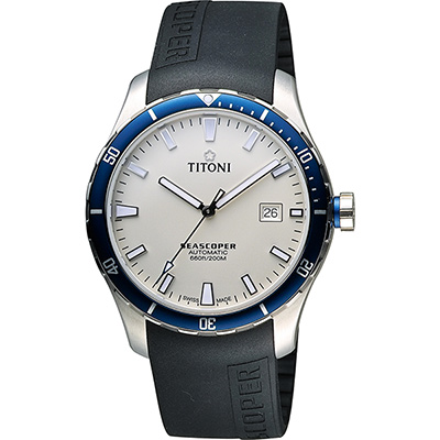 TITONI SEASCOPER海洋探索系列潛水機械錶-米白x黑/41mm