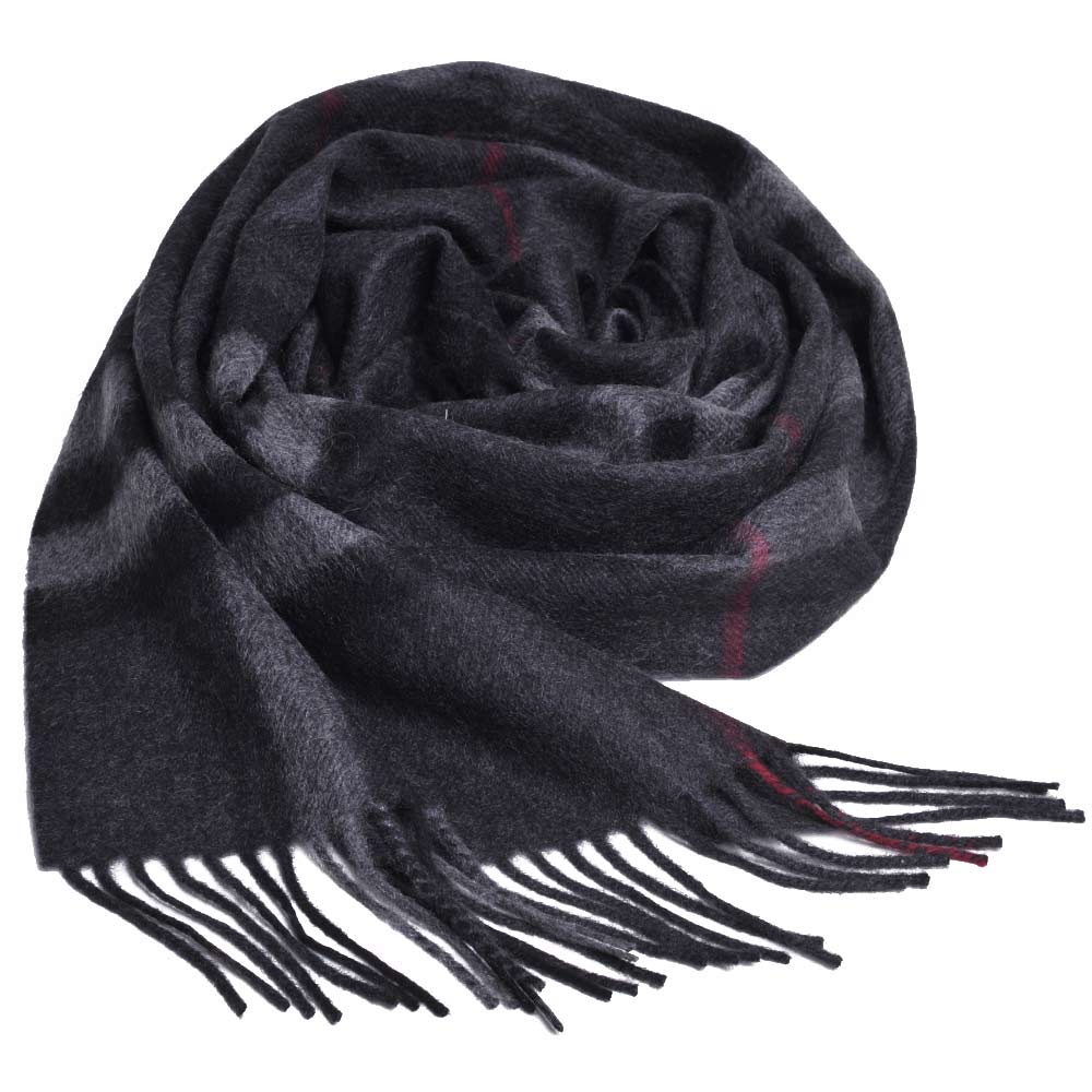 BURBERRY 經典大格紋喀什米爾羊毛圍巾(炭灰格紋/168x30)
