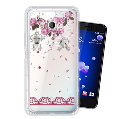 WT HTC U11 奧地利水晶彩繪空壓手機殼(璀璨蕾絲)