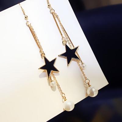 梨花HaN-無耳洞星光璀璨襯珍珠光芒耳環夾式