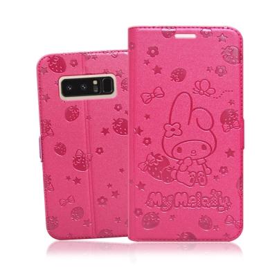 三麗鷗 Samsung Galaxy Note 8 金莎碎花壓印皮套(美樂蒂草莓...