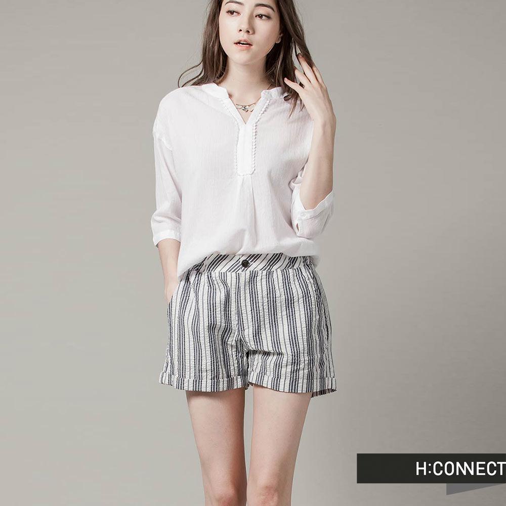 H:CONNECT 韓國品牌 女裝-簡約直紋休閒短褲 - 藍(快)