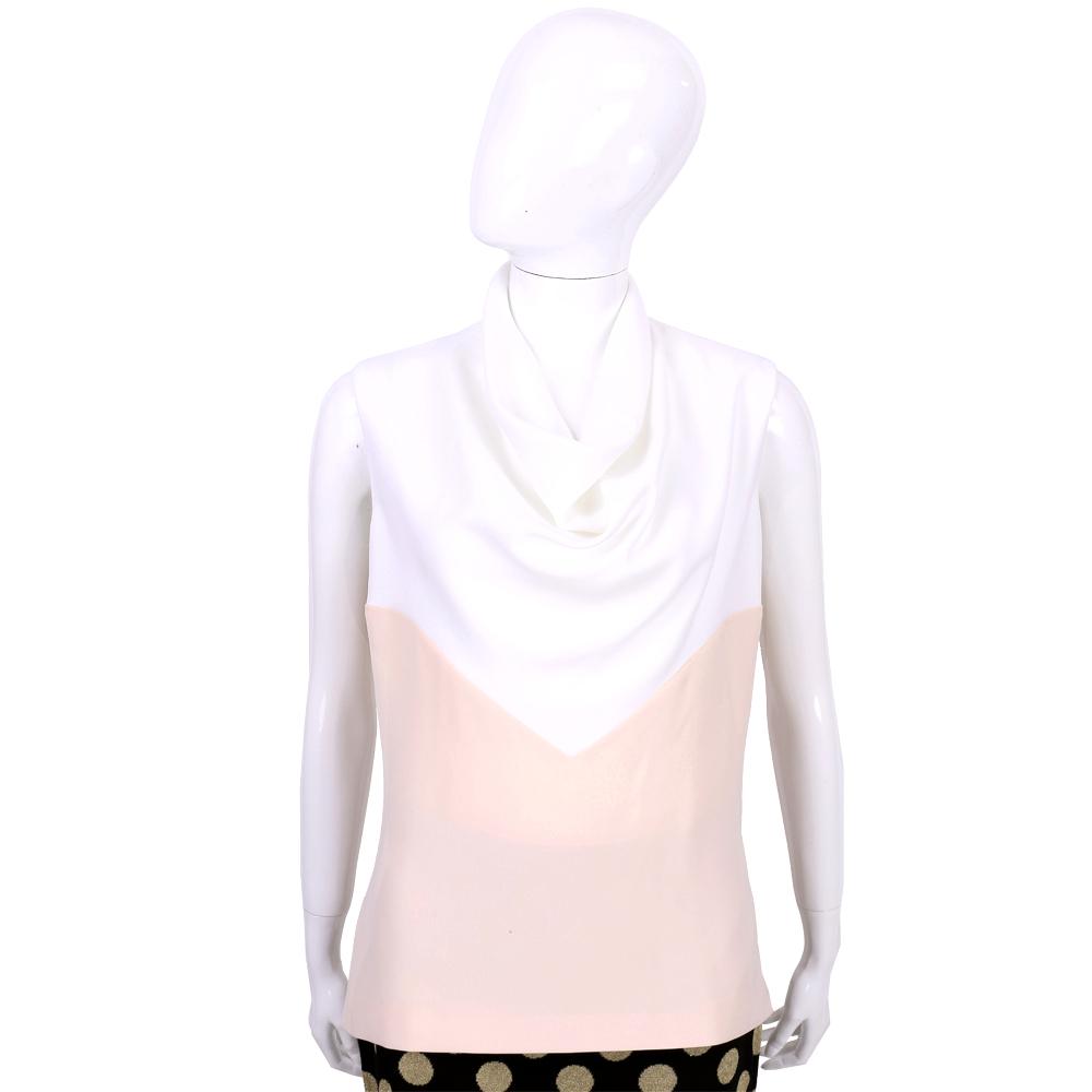 BALENCIAGA 白x粉色拼接垂領設計無袖上衣