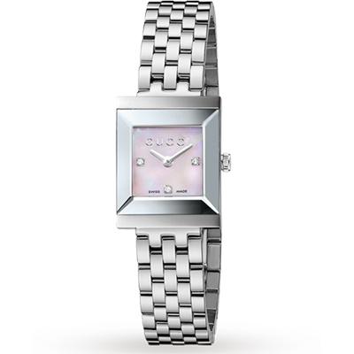 GUCCI G-Frame 系列中錶徑真鑽女錶-珍珠貝x銀/19mm