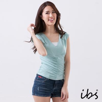IBS 削肩V領素面針織衫-綠-女