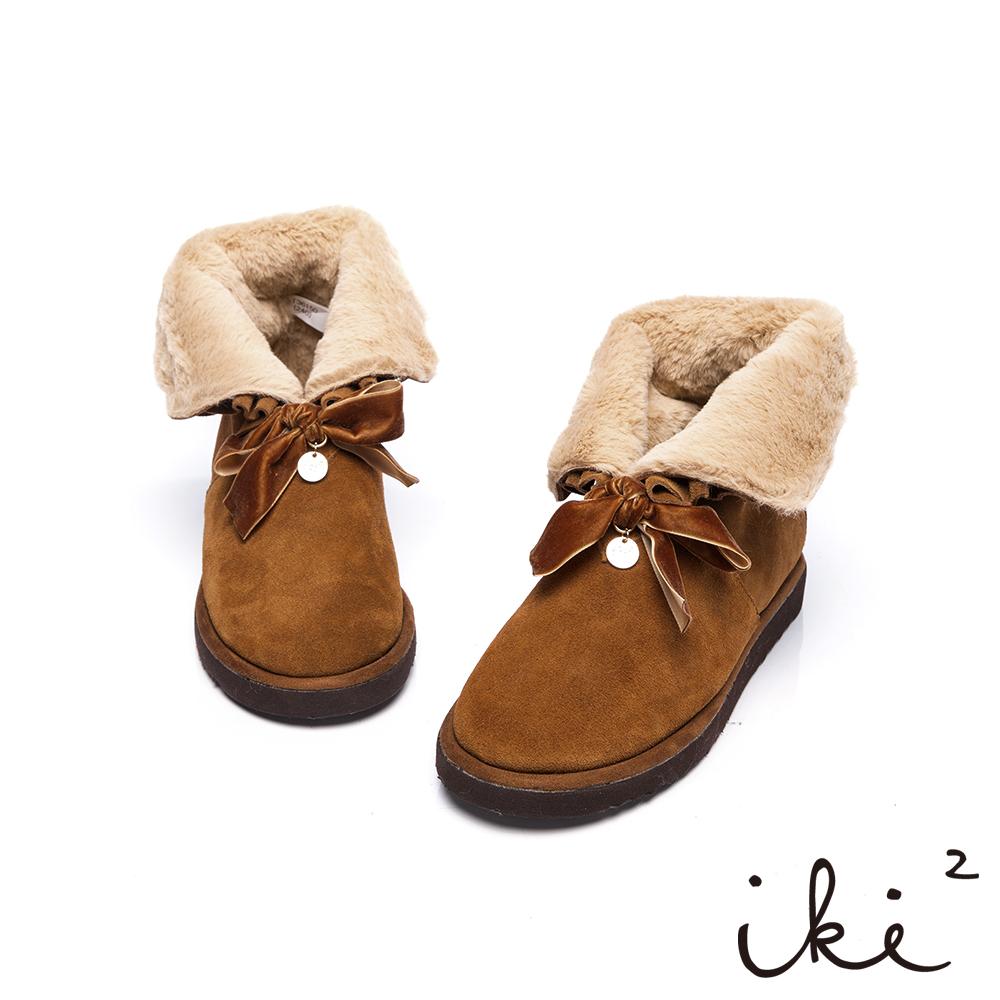 iki2雪靴華麗2way毛毛反折雪靴-淺咖